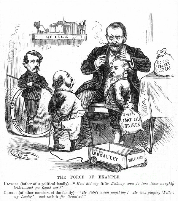 ULYSSES GRANT POLITICAL CARTOON REGARDING CORRUPTION IN HIS ADMINISTRATION.