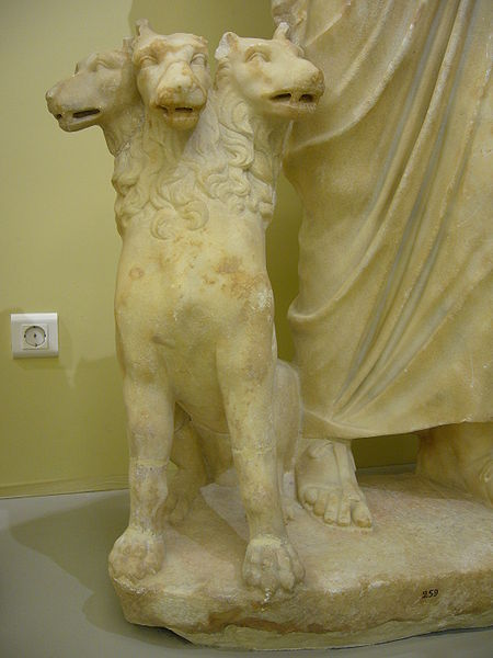 CERBERUS, THE GREEK AND ROMAN 3 HEADED DOG THAT PROTECTS THE GATES OF HELL AND ALLOWS NO ESCAPE