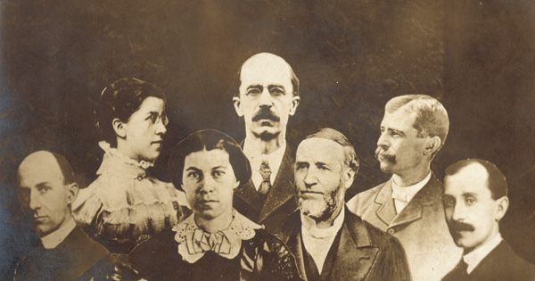 WRIGHT BROTHERS FAMILY (COMPOSITE PHOTO, LEFT TO RIGHT-WILBUR, KATHARINE, SUSAN, LORIN, BISHOP MILTON, REUCHIN, AND ORVILLE)