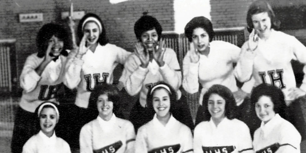 MARGO JEFFERSON AS CHEERLEADER IN THE 60'S (CENTER, TOP ROW)