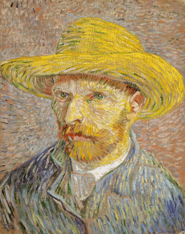 VINCENT VAN GOGH (ONE OF MANY RENOWNED SELF PORTRAITS BECAUSE VAN GOGH COULD NOT AFFORD MODELS.)