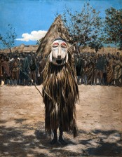 V0016256 An African shaman or medicine man dressed in ritual mask and