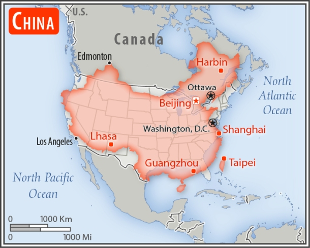 SIZE OF CHINA IN COMPARISON TO AMERICA