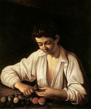 CARAVAGGIO-BOY PEELING FRUIT (THE EARLIST KNOWN WORK 1592-1593)