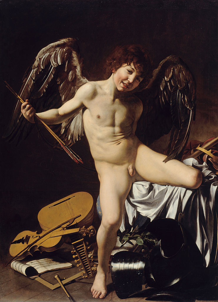 CARAVAGGIO-CUPID AS VICTOR (A STORY OF V'S-SENSUALITY OF HUMAN BEINGS)