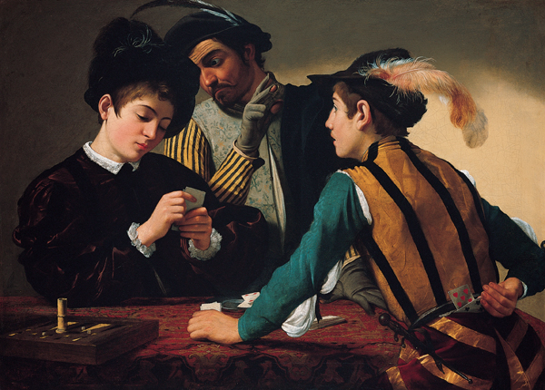 CARAVAGGIO-THE CARDSHARPS AND THE FORTUNE TELLER