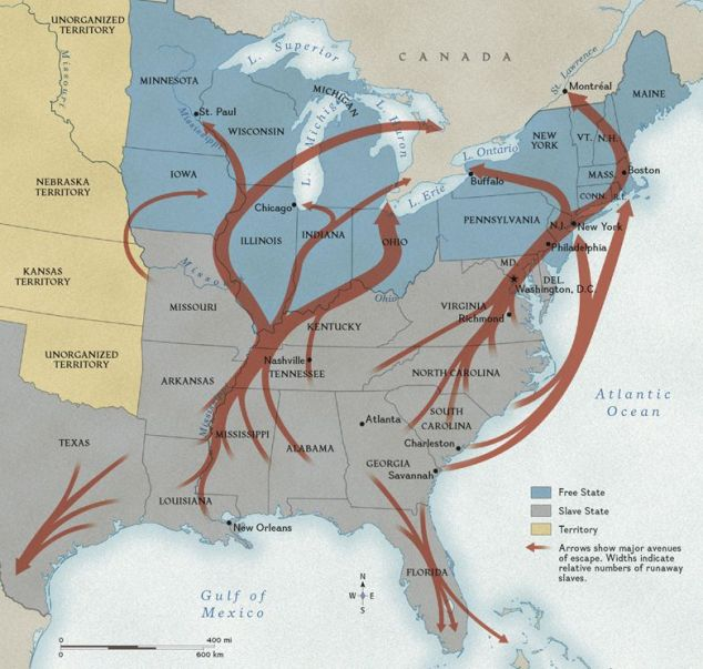 map of the underground railroad routes